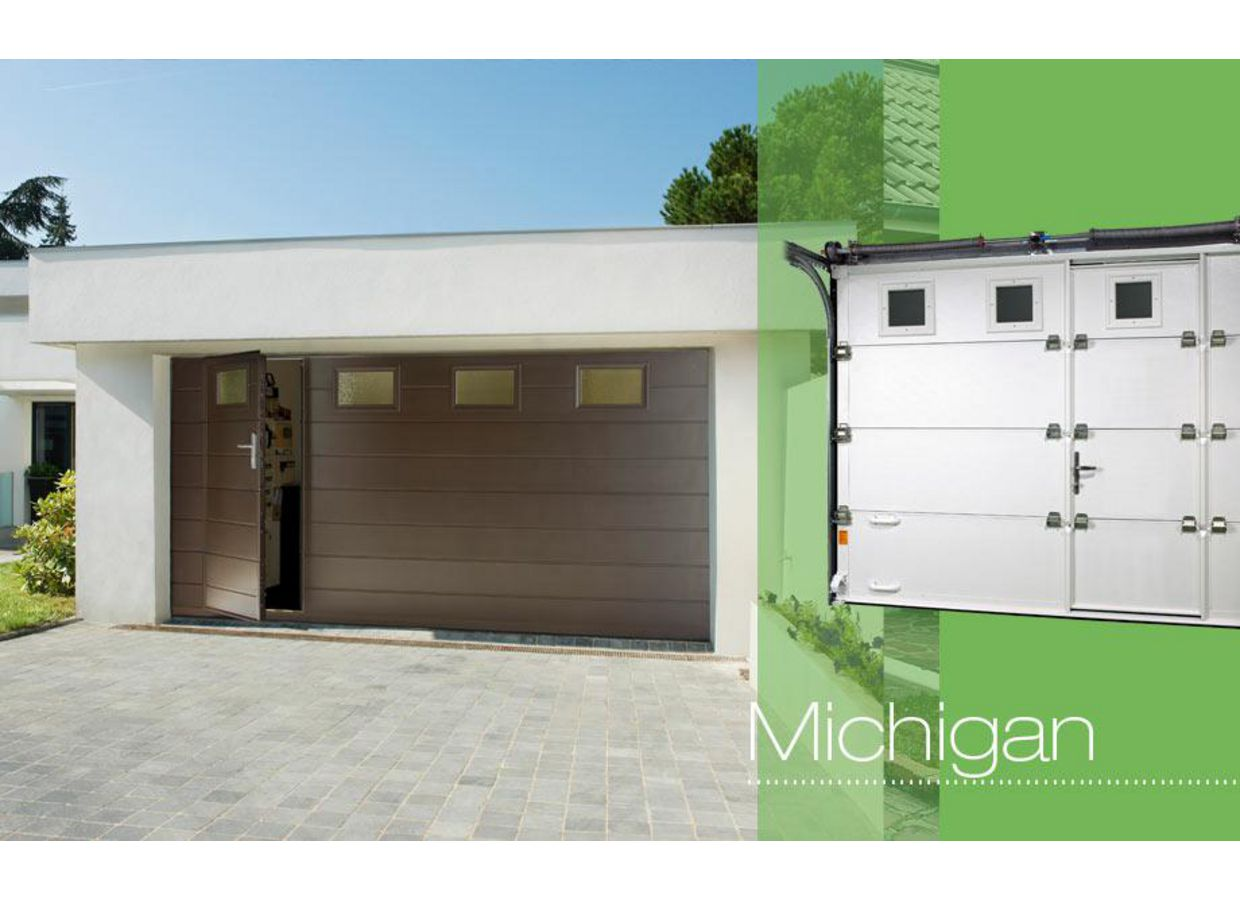 Porte de garage michigan sectionnelle ext rieur Prix porte de garage sectionnelle avec portillon