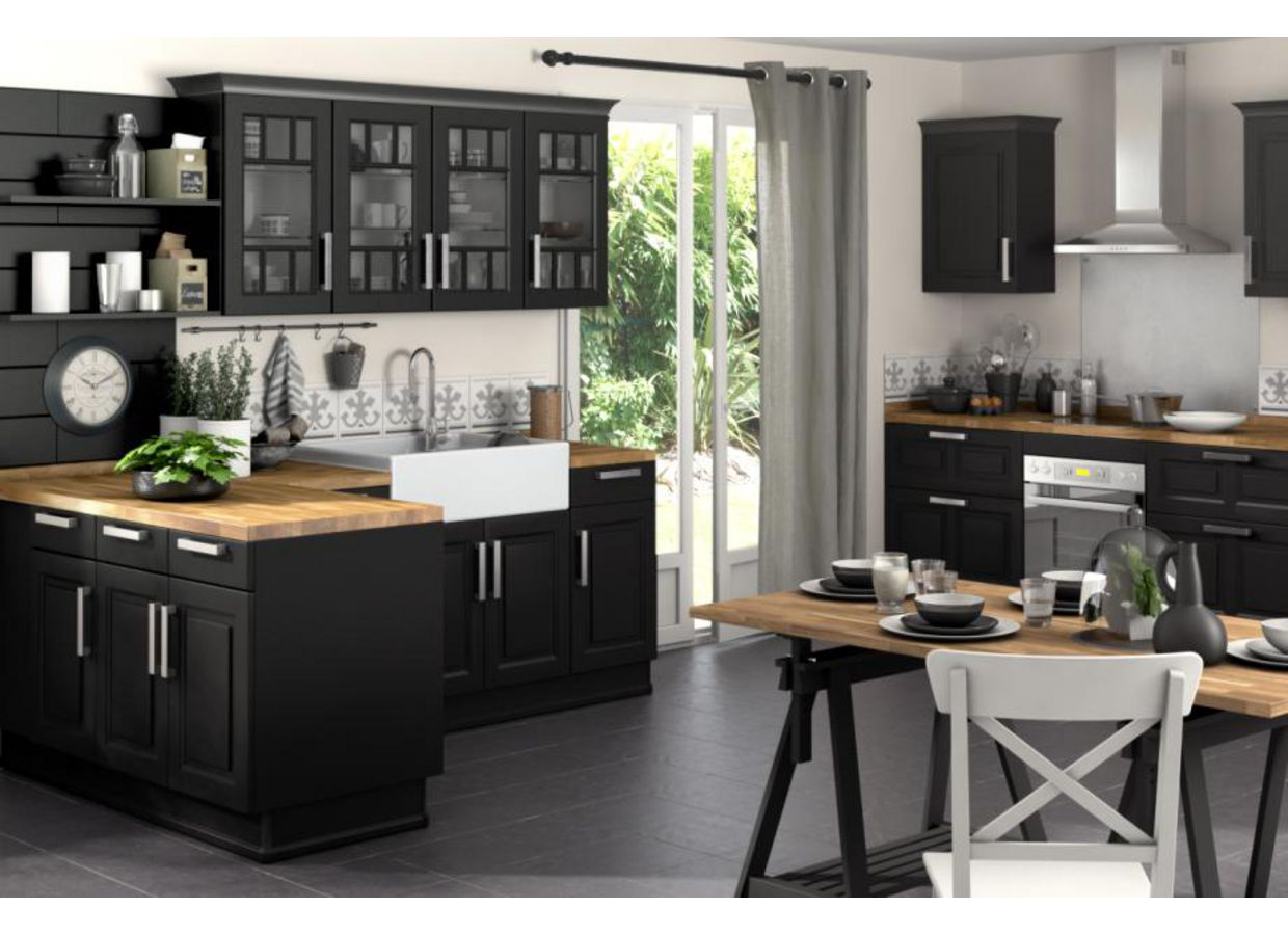 cuisine ixina noir et bois. Black Bedroom Furniture Sets. Home Design Ideas