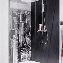 Rev tements muraux et briques de verre salle de bains for Habillage mural salle de bain