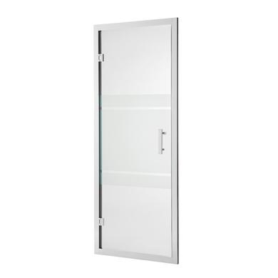 Porte de douche VOGUE pivotante H.190 x l.87/91 verre sérigraphié chrome