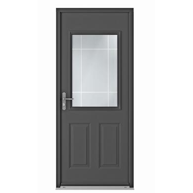 Porte d 39 entr e grenat blanc acier portes for Porte exterieure de service