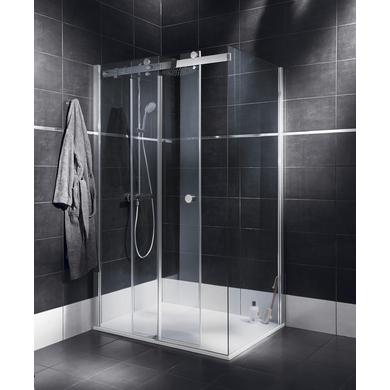 Porte de douche coulissante palace avec paroi de retour 77 - Porte coulissante lapeyre verre ...