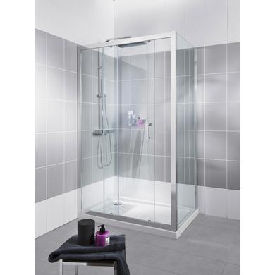 Paroi de douche de retour VOGUE H.190 x l.87/89 verre sérigraphié chrome