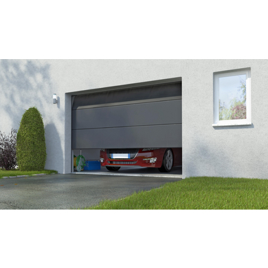 Porte de garage sectionnel Columbia kit contemporain gris H.212.5 x l.300
