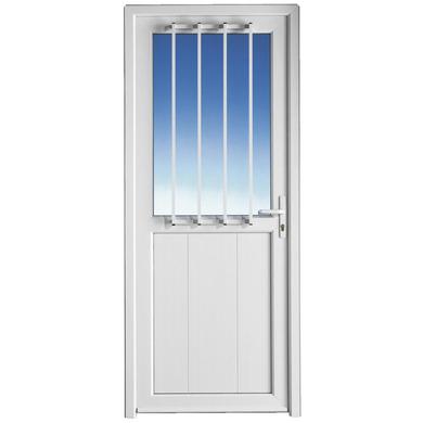Porte de service ouessant pvc avec grille portes for Porte de service exterieure pvc
