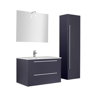 Ensemble meuble de salle de bains plan r sine avec for Meuble de salle de bain lapeyre