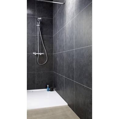 Lambris pvc element premium noir ardoise salle de bains - Carrelage plastique mural ...