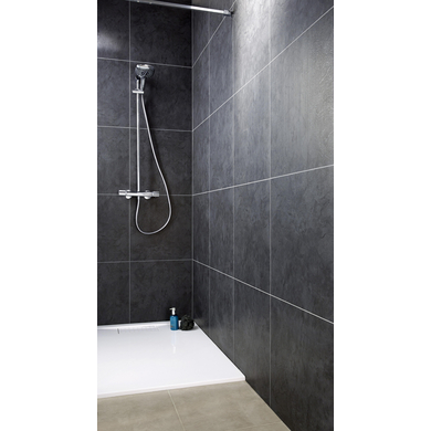Lambris pvc element premium noir ardoise salle de bains for Lambris pvc dans salle de bain