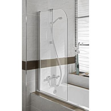 Ecran TOKYO 1 volet pivotant H.140 x l.75 verre transparent profil chrome