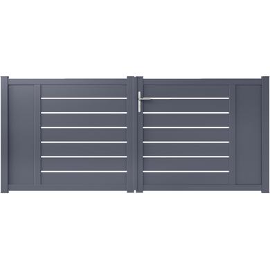 Portail battant aluminium CATANE gris avec accessoires H.131 x l.300