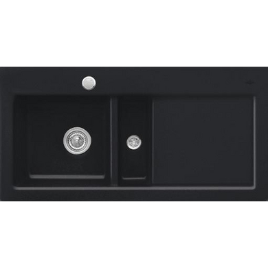 Evier SUBWAY céramique glossy black 2 bacs L.116 x l.51
