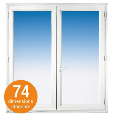 Fenêtre 2 vantaux CLASSIC PVC Blanc H.97 x l.87 pour Tableau H.95 x l.80