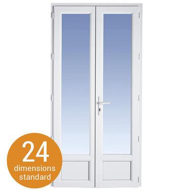 Porte-fenêtre 2 vtx à Clé CLASSIC PVC H.207 x l.127 pour Tableau H.205 x l.120