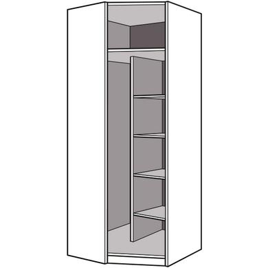 Caisson angle aménagement ESPACE chêne strié + colonne H.226 x P.50