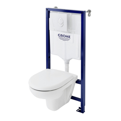 Pack cuvette Univers Plus+abattant+bâti wc Privilège mural H.110 SV+plq.Air blc