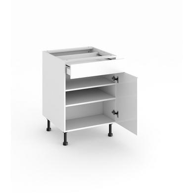 Meuble de cuisine bas 1 porte tablettes et tiroir cuisine for Meuble une porte et un tiroir