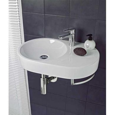 Lavabo Boréal porcelaine blanc L.60 x l.38 avec porte serviette chromé