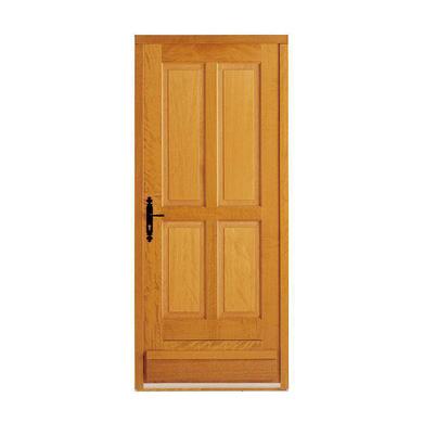 Porte d 39 entr e adaptable pleine 1 vantail bois exotique for Porte pleine bois