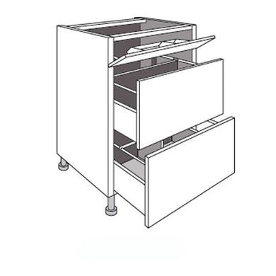 Bas sous-évier 2 cass. + faux tiroir URBAN blanc brillant H.85 x l.80 x P.63