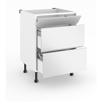 Bas sous-évier 2 casseroliers + faux tiroir TWIST chêne nat. H.85 x l.80 x P.63