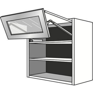 Meuble de cuisine haut 2 portes pliantes vitr es inox urban cuisine - Meuble cuisine haut porte vitree ...