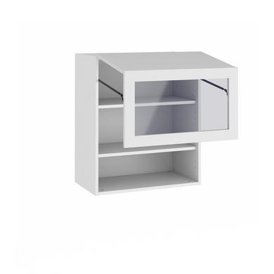 Meuble de cuisine haut 2 portes pliantes 1 pleine 1 vitr e cuisine for Meuble haut gris cuisine avec porte vitree 2 abattants