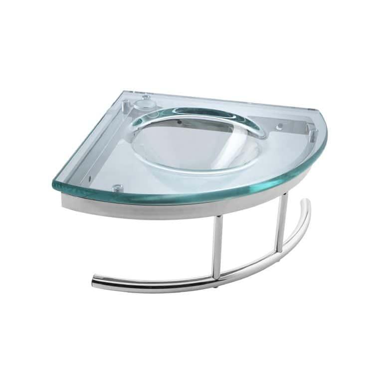 Lave-mains Cristal vert d'eau en verre L.34.5 x l.34.5 avec porte-serviette