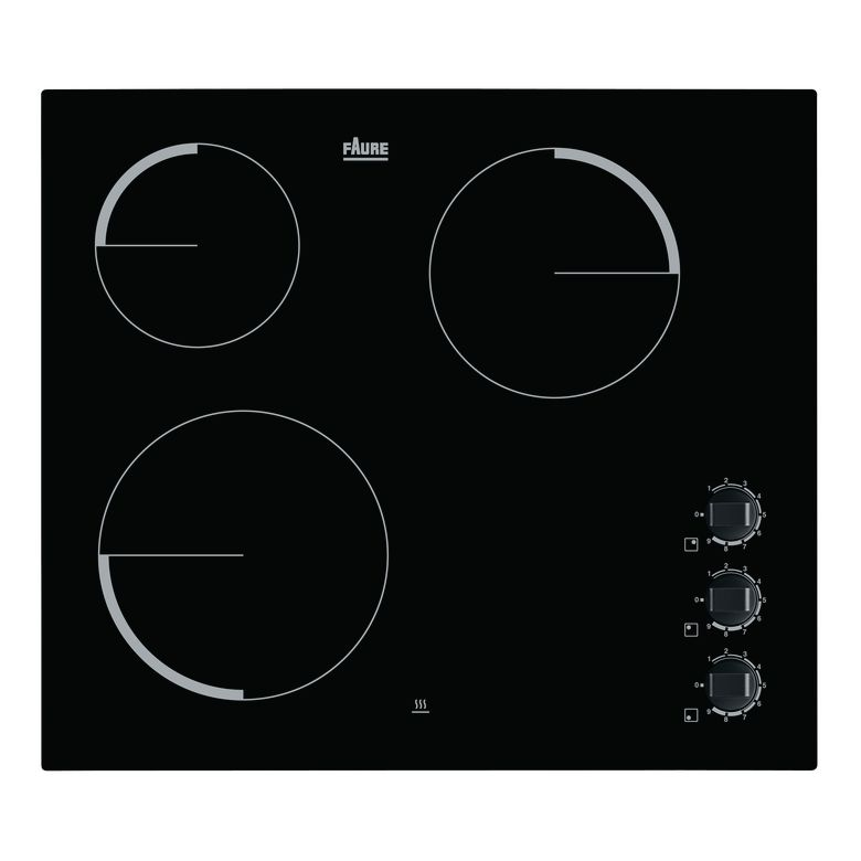 Type de table de cuisson : Vitrocéramique Nombre de foyer(s) : 3 Finition : Noir Minuteur(s) : Non Booster(s) : Non Commandes : Manettes Nombre de positions de puissance : 9 Puissance électrique totale : 5300 W Foyer(s) gauche(s) : Avant 21 cm - 2300 W /