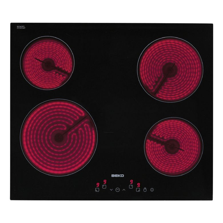 Table vitrocéramique noir 4 foyers Beko HIC64502T