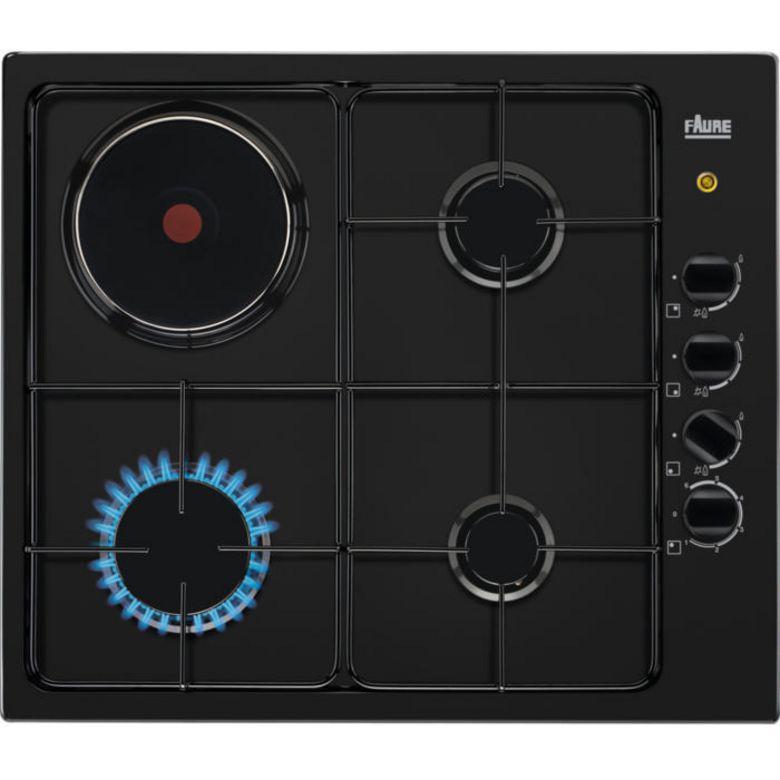 Table mixte gaz / électrique noir 4 foyers Faure FGM64300B