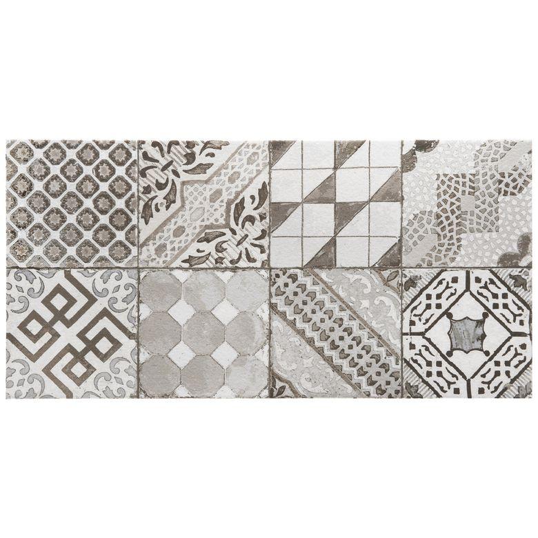 Carrelage castel patchwork gris 30 x 60 cm sols murs for Carrelage 30 60 gris