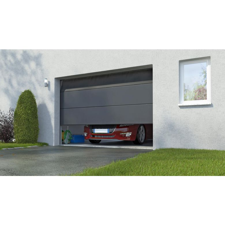Porte de garage columbia sectionnelle en kit motoris e somfy ext rieur - Lapeyre porte de garage sectionnelle ...