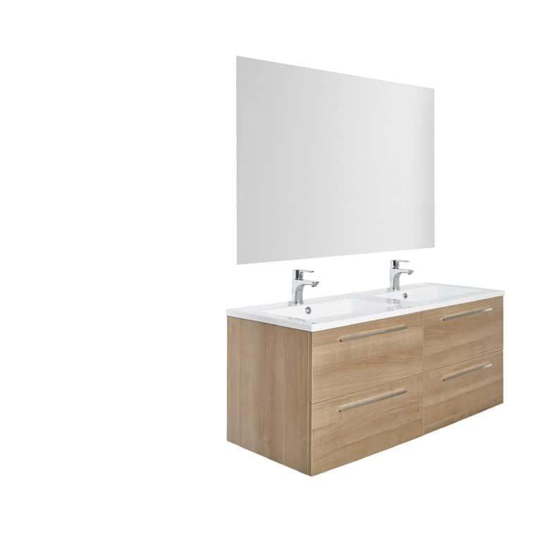 Ensemble meuble de salle de bains plan r sine avec for Catalogue salle de bain lapeyre