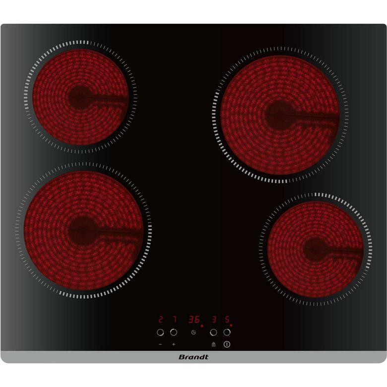 - Type de table de cuisson : Vitrocéramique - Nombre de foyer(s) : 4 - Finition : Noir - Minuteur(s) : 4 - Booster(s) : Non - Commandes : Sensitives - Nombre de positions de puissance : 9 - Puissance électrique totale : 6000 W - Foyer(s) gauche(s) : Avant