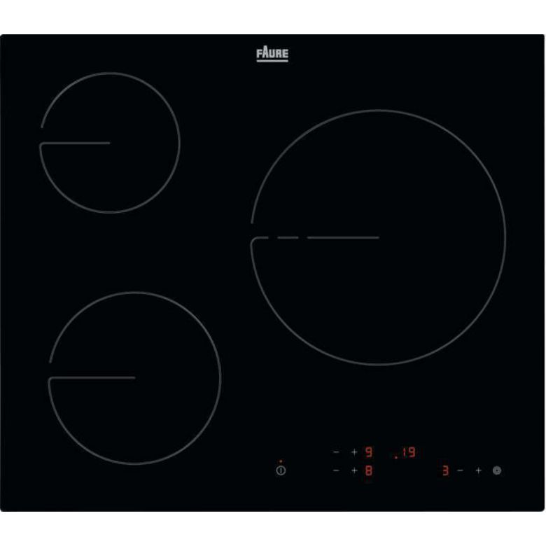 Table vitrocéramique noir 3 foyers Faure FHRM639K