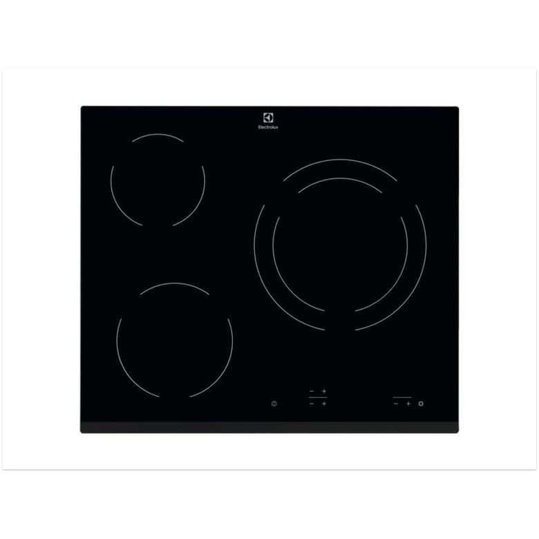 Table vitrocéramique noir 3 foyers Electrolux EHF6231FOK