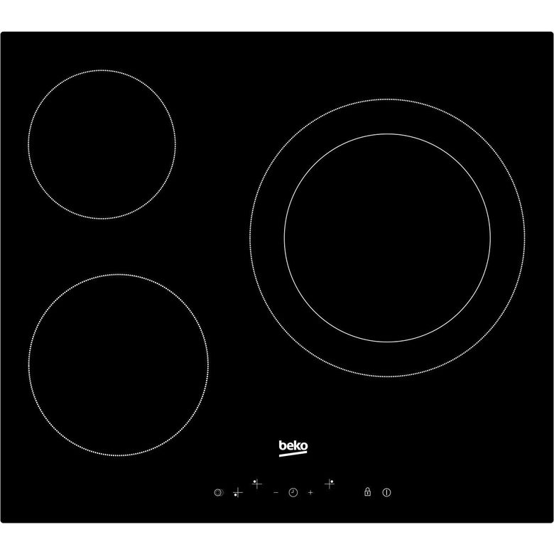Table vitrocéramique noir 3 foyers Beko HIC63402T