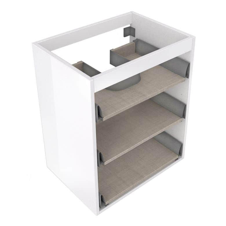 Caisson sous vasque CREAMIX pour 3 tiroirs bois foncé l.60 x P.45