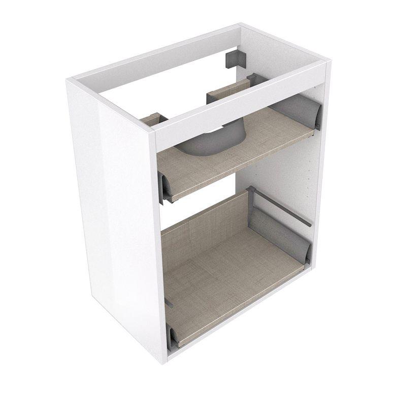 Caisson sous vasque gain de place CREAMIX pour tiroir gris l.90 x P.38