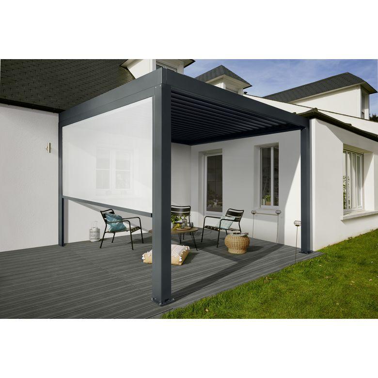 - Store façade zippé en toile gris galet pour pergola Fira 3 mètres