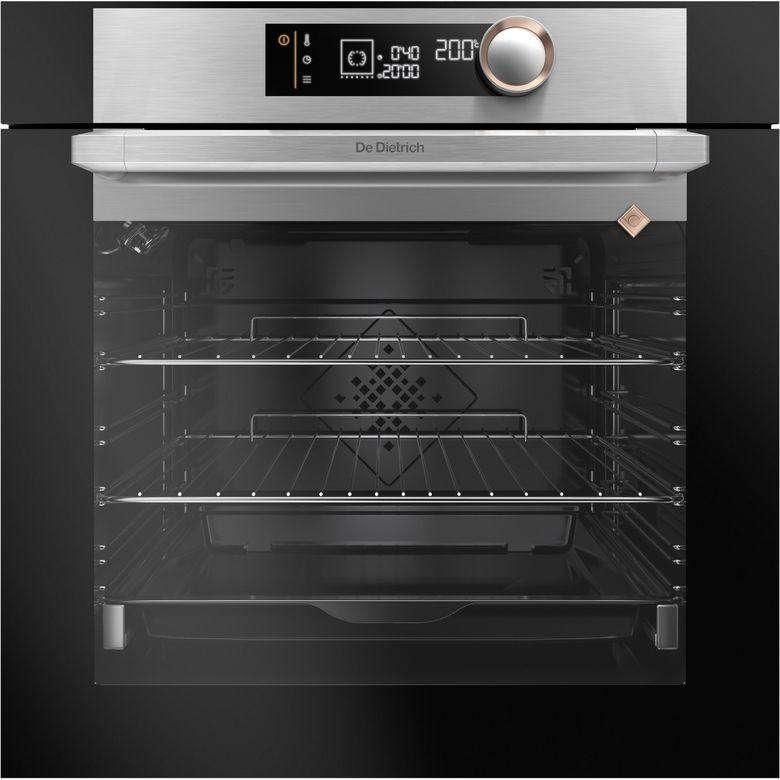 - Finition : Inox - Mode de cuisson : Multifonction chaleur tourante - Fonctions : Traditionnel, Chaleur tournante, Chaleur combinée, Gril ventilé, Sole ventilée, Eco, Gril variable, Maintien au chaud, Pain - Mode de nettoyage : Pyrolyse - Ouverture de la