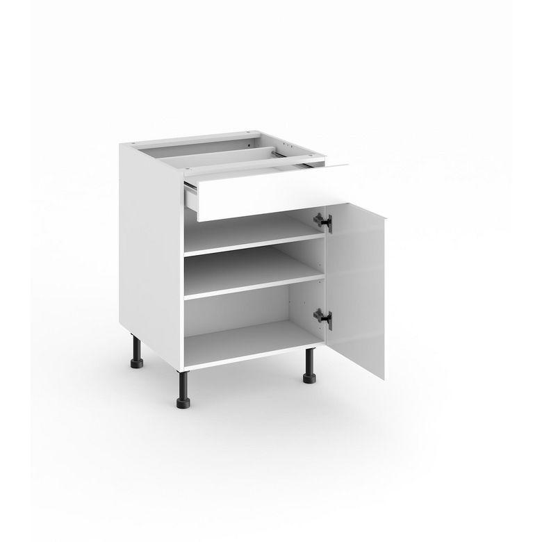 Meuble de cuisine bas 1 porte tablettes et tiroir cuisine for Porte meuble cuisine lapeyre