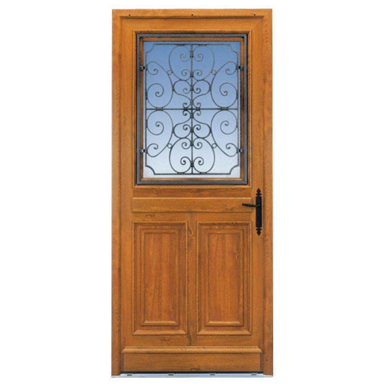 Porte d 39 entr e mansart pvc d cor bois portes for Lapeyre porte d entree bois