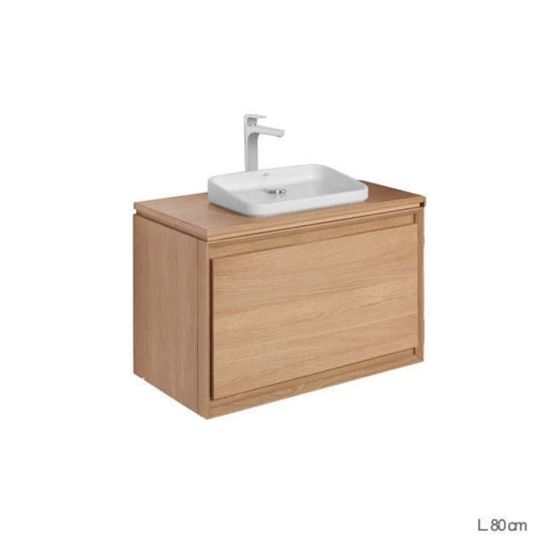 Meuble sous vasque avec plan bois rio salle de bains for Salle de bain meuble sous vasque