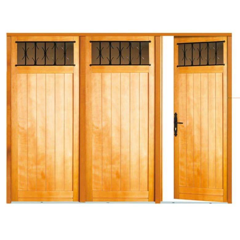 Porte de garage pliante bois Louveciennes sans grille 3 vantaux H.200 x l.240