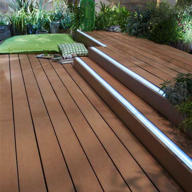 Bande lumineuse pour lames en bois composite emotion for Terrasse eclairage exterieur