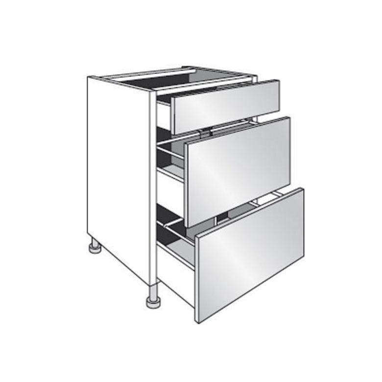 Meuble de cuisine bas range casseroles avec 3 tiroirs for Meuble haut avec tiroir