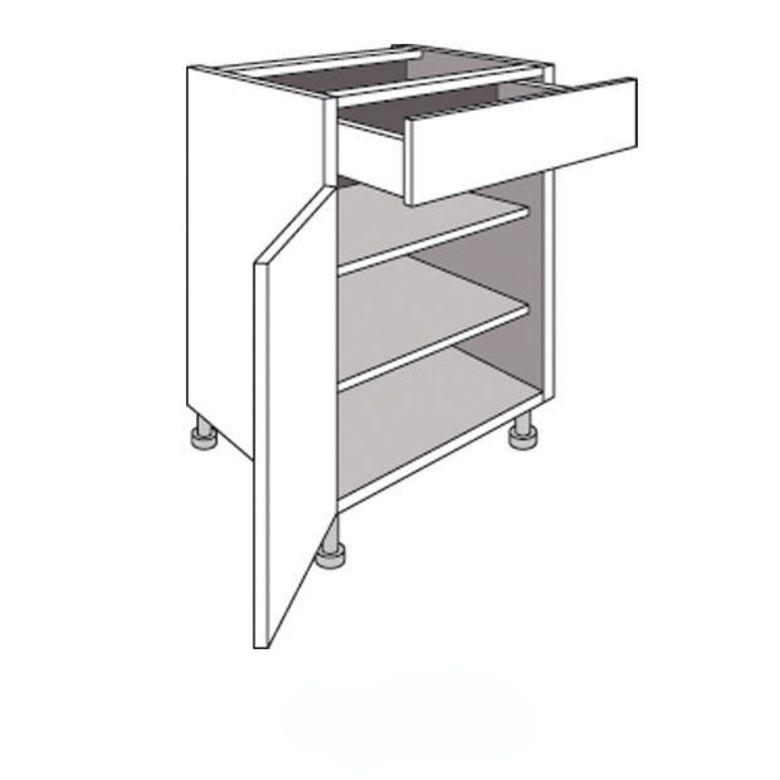Meuble de cuisine bas 1 porte tablettes et tiroir urban - Meuble cuisine 60 cm largeur ...