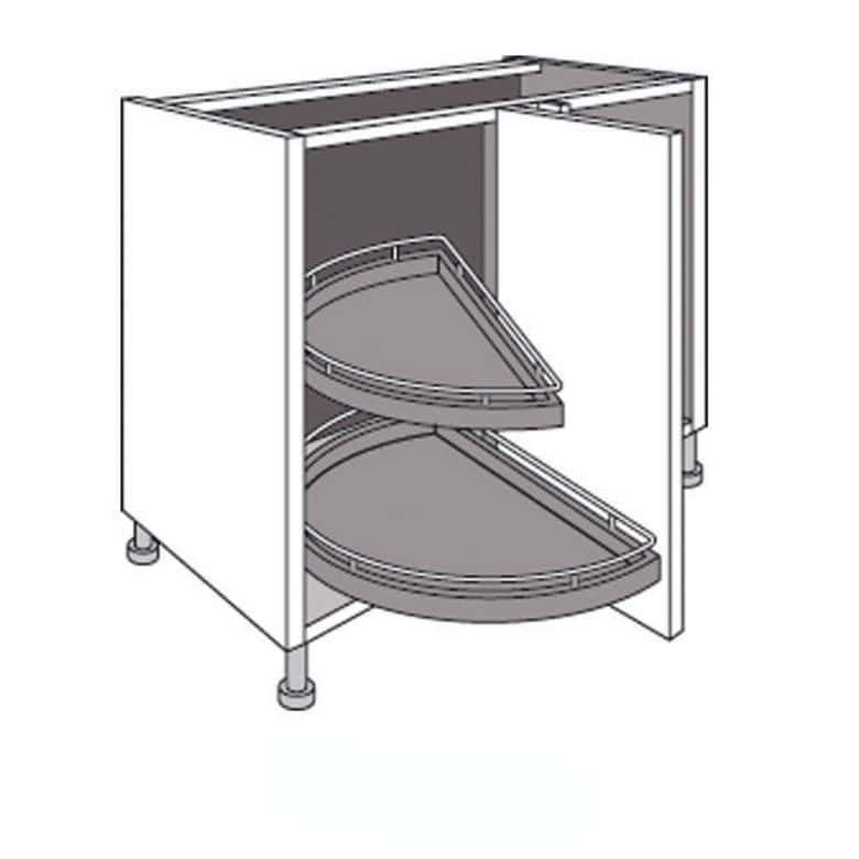 Meuble de cuisine d 39 angle bas 2 plateaux demi lune lumio for Demi porte coulissante