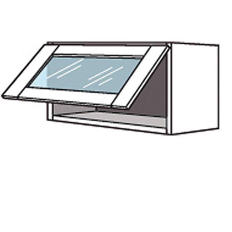 Meuble de cuisine haut avec abattant porte virtr e lumio for Meuble haut cuisine vitre